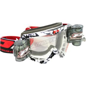 White/Black 3458 MX/Enduro Goggles w/Roll-Off System - 3450ROBI