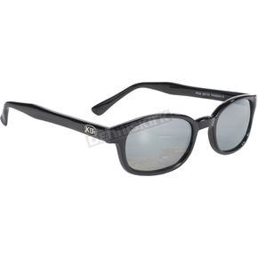 Black Sunglasses w/Silver Mirror Lens - 20110