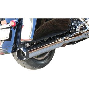 S&S Cycle Chrome 4-1/2 in. Mk45 Slip-on Mufflers w/Black Contrast Machined Thruster End Caps - 550-0664