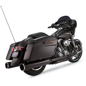 S&S Cycle Jet-Hot Black 4-1/2 in. MK45 Slip-on Mufflers w/Chrome Machined Thruster End Caps - 550-0667