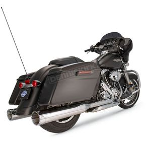 S&S Cycle Chrome 4-1/2 in. Mk45 Slip-On Mufflers w/Black Contrast Machined Tracer End Caps - 550-0668