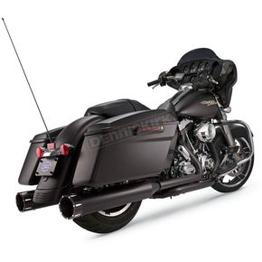 S&S Cycle Jet-Hot Black 4-1/2 in. Mk45 Slip-On Mufflers w/Chrome Machined Tracer End Caps - 550-0671
