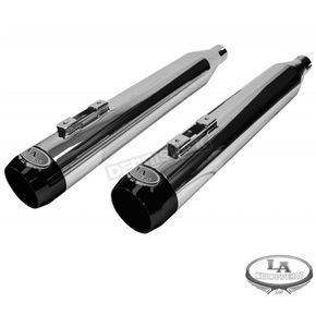 LA Choppers Chrome 4 in. Slip-On Mufflers W/Black End Caps - LA-1094-04B