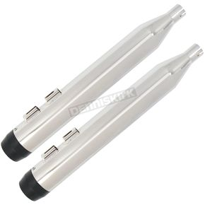 Chrome 4 in. Slip-On Mufflers w/Black Tapered Tips - 97008