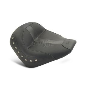 Mustang Seats Black Vinyl Solo Seat w/Chrome Studs - 75390