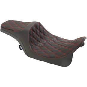 Black Double Diamond Stitch Vinyl Predator III Seat w/Red Thread - 0801-1116