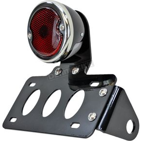 TC Bros. Choppers Black 33 Ford Taillight/License Plate Bracket Kit w/Red Lens - 107-0026
