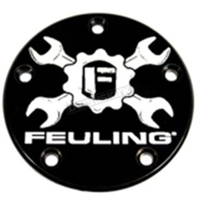 Feuling Motor Company Black Contrast Cut Gear Cross Wrench Logo Points Cover - 5-Hole - 9124