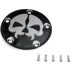 Drag Specialties Black w/Chrome Skull Split Skull Points Cover (5-Hole) - 0940-1613