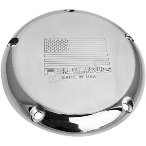 Polished 5-Hole American Flag Derby Cover w/Engraved Logo - 9151