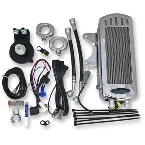 Chrome Side Mount Dual Fan Assisted Oil Cooler Kit - SMSP-1C