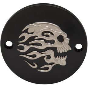 Matte Black w/ Silver Flaming Skull Points Cover - 0940-1888