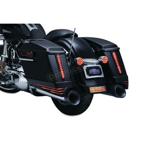Kuryakyn Gloss Black Saddlebag Extensions w/Red LED Run-Turn Signal Lights and Smoke Lenses  - 7293
