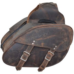 Black/Antique Brown Original Leather Quick Release Saddlebags - 9352.ZP