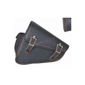 Black/Antique Brown Cowhide Leather Left Side Swingarm Bag - 9567.ABR