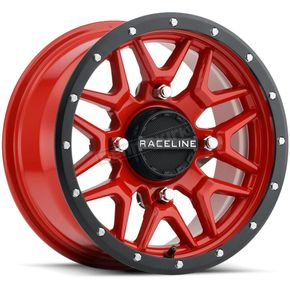 Black/Red Raceline A94 Krank Simulated Beadlock 14x7 Wheel - 570-1675