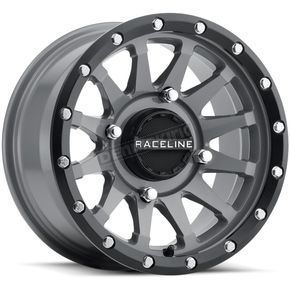 Black/Gray Raceline A95 Trophy Simulated Beadlock 14x7 Wheel - 570-1702
