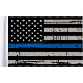 Grunge USA 10x15 Police Thin Blue Line Motorcycle Flag - FLG-PTBL-US15