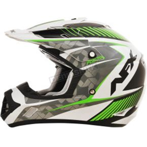 AFX Pearl White/Green FX17 Factor Helmet - 0110-4519