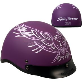 Hot Leathers Woman's Matte Purple Upwing Half Helmet - HLD1027L