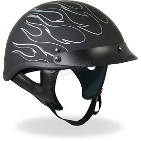Hot Leathers Black Reflective Flames Helmet - HLD1020M