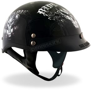Hot Leathers Black Biker For Life Helmet - HLD10162XL