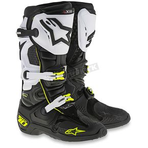 Alpinestars Black/White/Flo Yellow Tech 10 Boots - 2010014-12-8