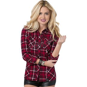 Metal Mulisha Womens Genevieve Long Sleeve Flannel Shirt - FA6704000REDXL