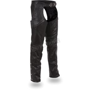 First Manufacturing Co. Black Dakota Leather Chaps - FIM-816-PFB-M