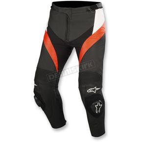 Alpinestars Black/White/Flo Red Missile Leather Pants - 3120514-1231-54