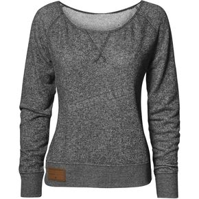 Thor Womens Gray Simplicity Off The Shoulder Long Sleeve Crew Shirt - 3051-1008