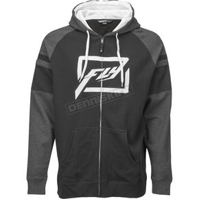 Fly Racing Black/Heather Threshold Zip Hoody - 354-62702X