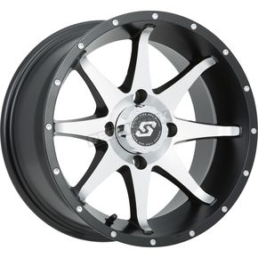 Front/Rear Black Machined Storm 12 x 7 Wheel - 570-1166
