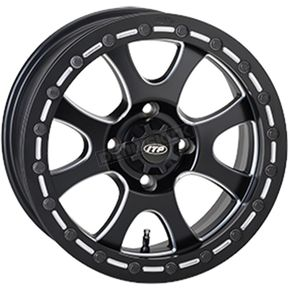 Front/Rear Matte Black Tsunami 15x7 Simulated Bead Lock Wheel - 1522081727B