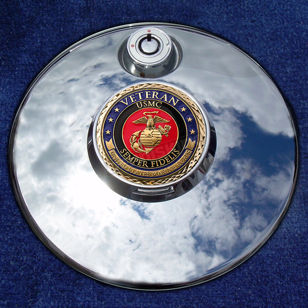 Motordog69 Tank 1.8  Fuel Door Coin Mount With Veteran US Marine Corps 2-Sided Coin - JMPC-FD-VMARINE