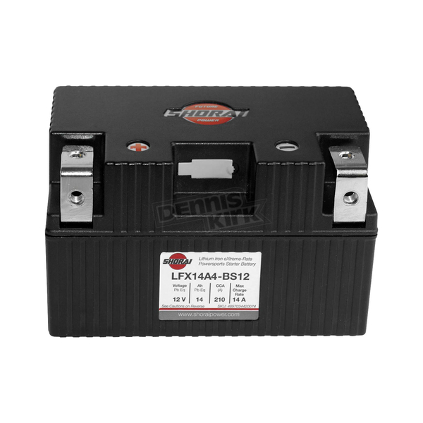 Shorai Xtreme-Rate 12-Volt LifePo4 LFX Lithium Battery - LFX14A4-BS12