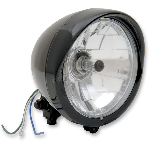Drag Specialties Black Diamond-Style Bottom Mount 5 3/4 Headlight Assembly - 2001-0551