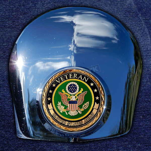 Motordog69 Crown 1.8 Horn Cover Attachment With Veteran US Army 2-Sided Coin - JMPC-HC-VARMY