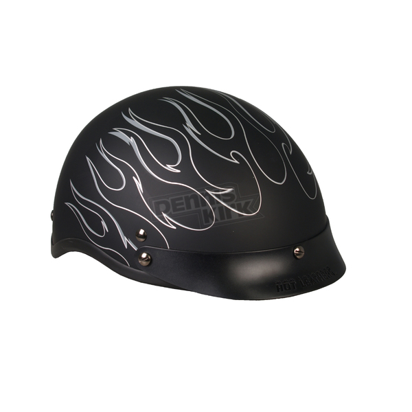 Hot Leathers Matte Black Silver Flames Helmet - HLD1020XL