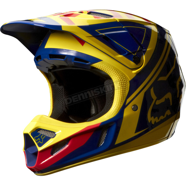 Fox Yellow/Blue V4 Intake Helmet - 07114-586-L
