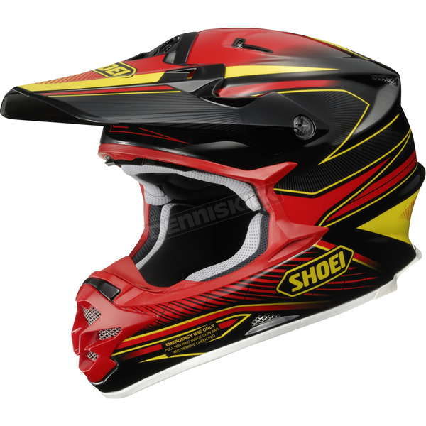 Shoei Helmets Black/Red/Yellow VFX-W Sear TC-1 Helmet - 0145-8301-04