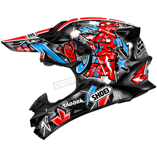 Shoei Helmets Black/Red VFX-W Barcia TC-1 Helmet - 0145-8401-05