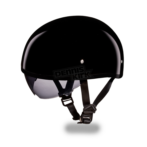 Daytona Hi-Gloss Black Skull Cap Half Helmet w/ Inner Retractable Smoke Shield - DS8-A-XXL