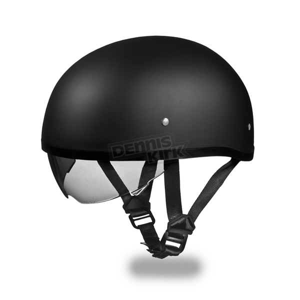 Daytona Dull Black Skull Cap Half Helmet w/ Inner Retractable Smoke Shield - DS8-B-L