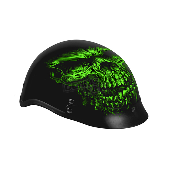 Hot Leathers Matte Black/Green Shredder Skull Helmet - HLD1030M