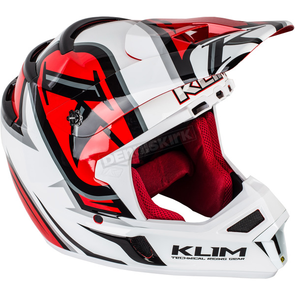 Klim Red/White/Black F4 Radar Helmet - 5106-001-160-101