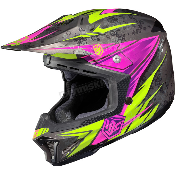 HJC Black/Hi-Viz Neon Green/Pink MC-8 CL-X7 Pop 'N Lock Helmet - 57-1388