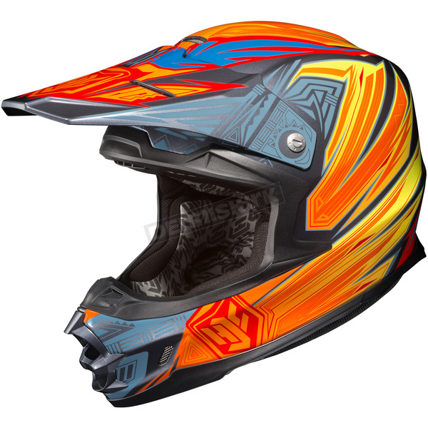 HJC Hi-Viz Yellow/Red/Blue MC-3H FG-X Legendary Lucha Helmet - 58-6439