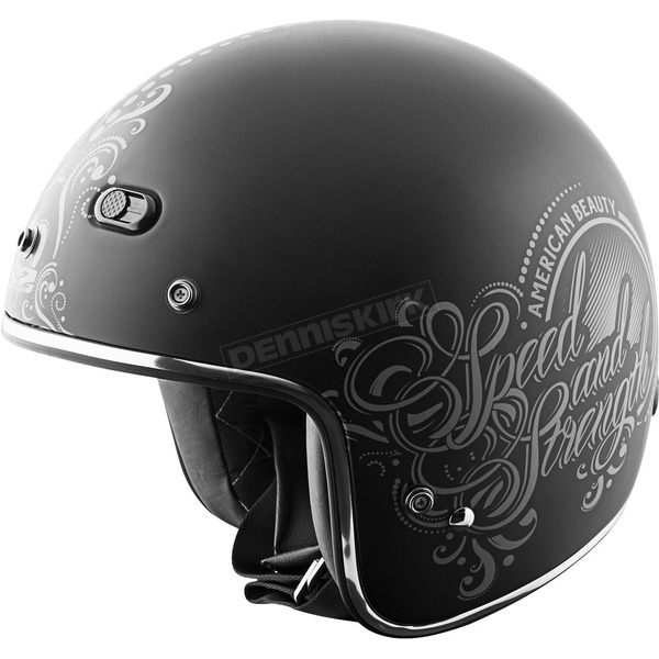 Speed and Strength Matte Black American Beauty SS600 Helmet - 87-8004