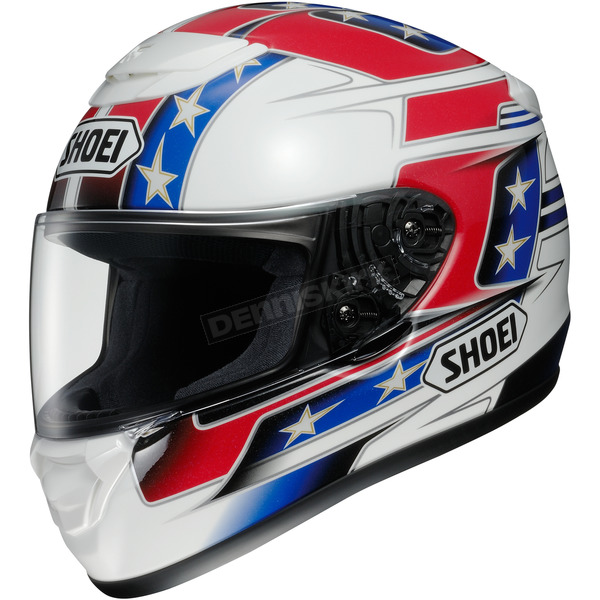 Shoei Helmets Red/White/Blue Qwest Banner TC-1 Helmet - 0115-1401-06